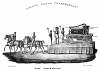 0076554 © Granger - Historical Picture ArchiveERIE CANAL, 1825.   A fire department float at the Grand Canal Celebration in New York, 4 November 1825.