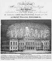 0076555 © Granger - Historical Picture ArchiveERIE CANAL, 1825.   A view of the fireworks for the celebration of the Erie Canal at New York City Hall. Line engraving, 1825.