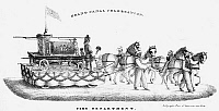 0087030 © Granger - Historical Picture ArchiveERIE CANAL: OPENING, 1825.   A fire company float at the Grand Canal Celebration in New York, 4 November 1825.