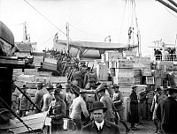 0123085 © Granger - Historical Picture ArchiveMARINES DEPARTING, 1913.   U.S. Marines embarking for Guantanamo, Cuba, on the U.S. Army transport ship 'Meade,' at the Philadelphia Naval Shipyard on League Island at Philadelphia, Pennsylvania, in response to the Mexican Revolution, February 1913.