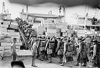 0123086 © Granger - Historical Picture ArchiveMARINES DEPARTING, 1913.   U.S. Marines embarking for Guantanamo, Cuba, on the U.S. Army transport ship 'Meade,' at the Philadelphia Naval Shipyard on League Island at Philadelphia, Pennsylvania, in response to the Mexican Revolution, February 1913.