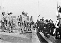 0123422 © Granger - Historical Picture ArchiveMARINES DEPARTING, 1913.   U.S. Marines and crew loading the U.S. Army transport ship 'Meade' at the Philadelphia Naval Shipyard on League Island at Philadelphia, Pennsylvania, prior to embarking for Guantanamo, Cuba, in response to the Mexican Revolution, February 1913.