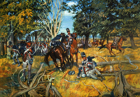 0011760 © Granger - Historical Picture ArchiveBATTLE OF FALLEN TIMBERS.   Anthony Wayne's Legion at the Battle of Fallen Timbers on the banks of the Maumee River, Ohio, 20 August 1794.