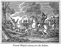 0050079 © Granger - Historical Picture ArchiveBATTLE OF FALLEN TIMBERS.   General Wayne at the Battle of Fallen Timbers, 20 August 1794: wood engraving, American, 1848.