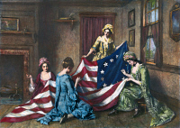 0008449 © Granger - Historical Picture ArchiveBIRTH OF THE FLAG.   Betsy Ross sewing the first American flag. Painting by Henry Mosler (1841-1920).