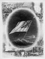 0037632 © Granger - Historical Picture ArchiveCONFEDERATE FLAG, 1867.   'In Memoriam.' The Confederate flag surrounded by battle scenes. Line and mezzotint engraving, American, 1867, by John C. McRae.