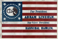0621883 © Granger - Historical Picture ArchivePRESIDENTIAL CAMPAIGN, 1860.   Presidential campaign banner for Abraham Lincoln and Hannibal Hamlin, featuring a 33-star flag. Created by H.C. Howard, 1860.