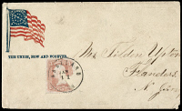 0621894 © Granger - Historical Picture ArchiveCIVIL WAR: LETTER, c1863.   Civil War envelope with a 34-star flag and the slogan 'The Union, now and forever,' c1863.