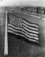 0621944 © Granger - Historical Picture ArchiveFLAG FORMATION, c1917.   U.S. Navy sailors in the formation of an American flag. Photograph, c1917.