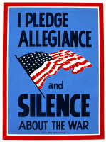 0621947 © Granger - Historical Picture ArchiveWWII: POSTER, c1942.   'I Pledge Allegiance and Silence About the War.' Silkscreen poster by Thomas A. Byrne, c1942.