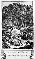 0031582 © Granger - Historical Picture ArchiveBRADDOCK: FORT DUQUESNE.   General Edward Braddock's defeat and death on his expedition against Fort Duquesne, July 1755, during the French and Indian War. Copper engraving, English, 18th century.