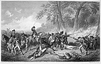 0031583 © Granger - Historical Picture ArchiveGENERAL BRADDOCK: DEATH.   The death and defeat of General Edward Braddock on his expedition against Fort Duquesne, July 1755, during the French and Indian War. Steel engraving, American, 19th century.