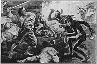 0065761 © Granger - Historical Picture ArchiveLACHINE MASSACRE, 1689.   The Iroquois massacre of French settlers at the village of Lachine, near Montreal, Canada, on the St. Lawrence River, 5 August 1689. From the painting by C.W. Jefferys.