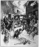 0065762 © Granger - Historical Picture ArchiveSCHENECTADY RAID, 1690.   After marching southward from Montreal, Canada, a French and Native American War party raids the frontier settlement at Schenectady, New York, 8-9 February 1690. Illustration by C.W. Jefferys, 1927.
