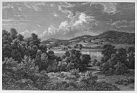0090162 © Granger - Historical Picture ArchiveBRADDOCK: FORT DUQUESNE.   Nineteenth-century view of the battlefield near Fort Duquesne where General Edward Braddock met defeat and death on 9 July 1755, during the French and Indian War. Steel engraving, 19th century.