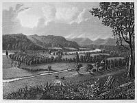 0090164 © Granger - Historical Picture ArchiveBRADDOCK: FORT DUQUESNE.   Nineteenth-century view of the battlefield near Fort Duquesne where General Edward Braddock met defeat and death on 9 July 1755, during the French and Indian War. Steel engraving, 19th century.