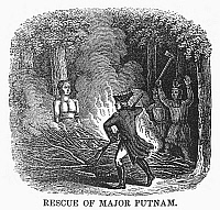 0101980 © Granger - Historical Picture ArchiveISRAEL PUTNAM (1718-1790).  American Revolutionary commander. Major Putnam saved by a French officer from being burned alive by Caughnawaga Native Americans during Pontiac's Rebellion in 1758. Wood engraving, 1840.