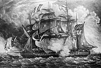 0075606 © Granger - Historical Picture ArchiveNEVIS: CONSTELLATION, 1799.   The L'Insurgent (left) hauls down her tricolor and surrenders to the American frigate USS Constellation off of the island of Nevis in the West Indies on 9 February 1799 during the undeclared war with France. Contemporary aquatint.