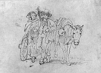 0175534 © Granger - Historical Picture ArchiveFRONTIERSMAN & WIFE.   A young frontiersman with his wife and pack animal. Drawing by Joshua Shaw, early 19th century.