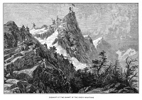 0619961 © Granger - Historical Picture ArchiveFREMONT PEAK, 1842.   American explorer John C. Fremont reaches the summit of Fremont Peak in August 1842, then believed to be the highest point in the Rocky Mountains. Engraving, c1890.