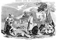 0001012 © Granger - Historical Picture ArchiveCALIFORNIA GOLD RUSH, 1857.   'Housekeeping.' A camp of Chinese gold miners in California. American engraving, 1857.