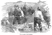 0006830 © Granger - Historical Picture ArchiveCALIFORNIA GOLD RUSH, 1849.   Miners washing gold in California during the early days of the Gold Rush. Wood engraving, 1849.