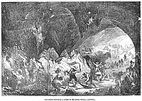 0031783 © Granger - Historical Picture ArchiveCALIFORNIA GOLD RUSH, 1859.   Gold miners exploring a cavern in the Sierra Nevada, California. Wood engraving from an American newspaper of 1859.