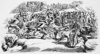 0042917 © Granger - Historical Picture ArchiveWEAVERVILLE TONG WAR, 1854.   Chinese immigrant gold miners battling in the Weaverville Tong War, in northern California, 1854. Wood engraving, 19th century.