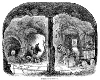 0048453 © Granger - Historical Picture ArchiveCALIFORNIA GOLD RUSH, 1860.   'Interior of tunnel.'  Wood engraving, American, 1860.