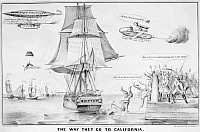 0052181 © Granger - Historical Picture ArchiveGOLD RUSH CARTOON, 1849.   'The Way They Go To California.' Lithograph, 1859, by Nathaniel Currier.
