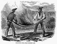 0096299 © Granger - Historical Picture ArchiveCALIFORNIA GOLD RUSH.   Winnowing gold in California. Wood engraving, 1860.