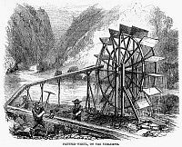 0096303 © Granger - Historical Picture ArchiveGOLD MINING, 1860.   Gold miners using a flutter wheel on the Tuolumne River in California. Wood engraving, American, 1860.