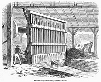 0096304 © Granger - Historical Picture ArchiveCALIFORNIA GOLD RUSH.   Mill for isolating gold from quartz, Grass Valley, California. Wood engraving, 1860.