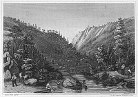 0096365 © Granger - Historical Picture ArchiveCALIFORNIA GOLD RUSH.   Gold mining in the Mokelumne River, California. Line engraving, American, mid 19th century.