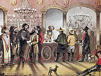 0101224 © Granger - Historical Picture ArchiveGOLD RUSH SALOON, c1850.   Europeans, Mexicans, and Chinese mingling in a saloon in Sonora, California, c1850. Lithograph, English, 1855, after a drawing by Frank Marryat.