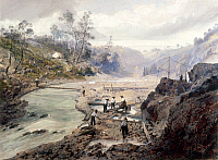 0102340 © Granger - Historical Picture ArchiveCALIFORNIA GOLD RUSH, 1853.   'Washing Gold, Calaveras, California.' Gouache painting by an unknown artist, 1853.