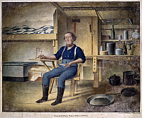 0102345 © Granger - Historical Picture ArchiveCALIFORNIA GOLD MINER, 1853.   'William D. Peck, Rough and Ready, California.' Watercolor by Henry Walton, 1853.