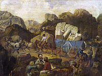 0103095 © Granger - Historical Picture ArchiveGOLD RUSH: MINERS.   Gold miners crossing the mountains during the California Gold Rush. Painting, c. 1850.