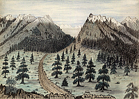 0116044 © Granger - Historical Picture ArchiveROCKY MOUNTAINS, 1859.   A view of the Cherokee Pass through the Rocky Mountains in Colorado, leading towards the Oregon and California Trails. Drawing by Daniel Jenks,  1859.