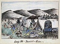 0116053 © Granger - Historical Picture ArchiveGOLD RUSH, 1859.   The campsite where the Jenks party pitched their tents on July 22, 1859, identified by the artist as 'Camp 100,' on the banks of the Humboldt River in western Nevada. Graphite, ink, crayon and watercolor on paper by Daniel Jenks, gold prospector, 1959.
