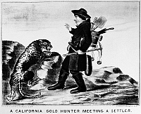0118375 © Granger - Historical Picture ArchiveGOLD RUSH: CARTOON.   'A California Gold Hunter Meeting a Settler.' American lithograph, c1850,