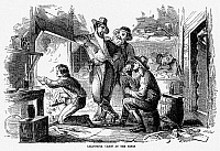 0173135 © Granger - Historical Picture ArchiveGOLD RUSH: CABIN, 1856.   'California Cabin at the Mines.' Interior of a cabin shared by gold miners during the California Gold Rush. Wood engraving, American, 1856.