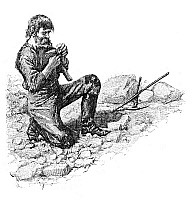 0173139 © Granger - Historical Picture ArchiveGOLD RUSH: PROSPECTOR.   A prospector examines a nugget of gold in the American West. Wood engraving, mid or late 19th century.