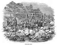 0268571 © Granger - Historical Picture ArchiveCALIFORNIA: GOLD MINERS.   Gold miners in California. Wood engraving, English, 1853.