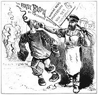 0001086 © Granger - Historical Picture ArchiveCHINESE IMMIGRANTS, 1877.   'The First Blow at the Chinese Question.' Cartoon, 1877, by Edward Keller on the tensions in San Francisco, California, between recently-arrived Chinese immigrants and the mostly Irish members of the 'Workingmen's Party.'