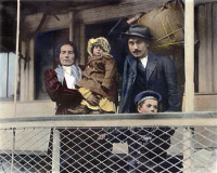 0010746 © Granger - Historical Picture ArchiveAN ITALIAN IMMIGRANT FAMILY   on the Ellis Island ferry to Manhattan. Oil over a photograph, c1905, by Lewis Hine.