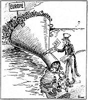 0013499 © Granger - Historical Picture ArchiveIMMIGRATION CARTOON, 1921.   'The Only Way to Handle It.' Contemporary cartoon on the effectiveness of the temporary Immigration Act of 1921 in reducing the flood of immigrants to the United States to a mere trickle.