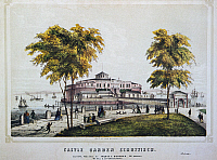 0031458 © Granger - Historical Picture ArchiveCASTLE GARDEN, NY, 1852.   The castle Garden amusement hall at New York in 1852, the site of Jenny Lind's American debut two years previously; the building was an immigrant station from 1855-90. American song sheet cover, 1852.