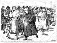 0035820 © Granger - Historical Picture ArchiveRUSSIAN IMMIGRANTS, 1880s.   Jewish immigrants from Russia, recently arrived at New York City, leaving Castle Garden immigration station for Ward's Island. Wood engraving, American, 1882.