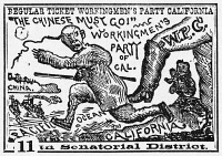 0037755 © Granger - Historical Picture ArchiveCHINESE IMMIGRANTS, c1880.   Broadside, c1880, supporting the Workingmen's Party of California in elections to the state legislature, featuring the party's popular slogan, 'The Chinese Must Go!'